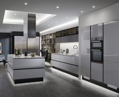 Linear Trend Grey is the new go-to neutral. This colour is very popular and a great choice for a kitchen as it is both versatile and fresh. This is our Balham Gloss Dove Grey kitchen. Find out more at Howdens. Luxury Kitchen Design, Kitchen Room Design, Home Decor Kitchen, Kitchen Interior, New Kitchen, Kitchen Ideas, Kitchen Grey, Kitchen Modern, Modern Kitchens