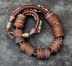 Tanya Mayorov   ||  Necklace with handmade beads, beads are made by hand in the syringe technique. (836×768)
