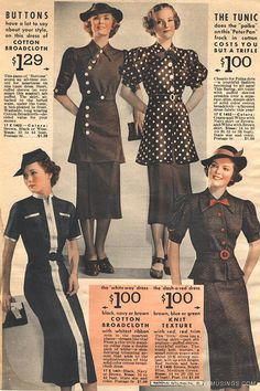One suit is asymmetrical. ALady.  daywear looks from a 1936-37 pattern catalog. #vintage #1930s #fashion