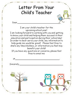 """Use this """"Letter From Your Teacher"""" to introduce yourself to your student's parents. Great icebreaker and initial communication to begin the school year!"""