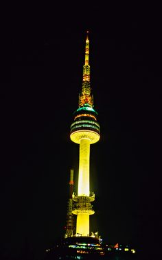Seoul Tower at night, Namsan Mountain, Seoul, South Korea