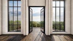 High Windows, French Windows, French Doors, Balcony Doors, Patio Doors, Modern Brick House, Door And Window Design, Timber Door, Bright Rooms