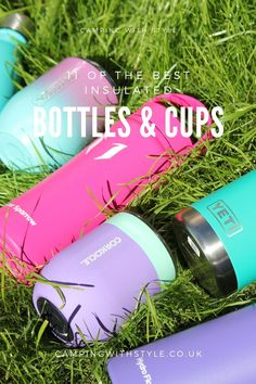 Here we pick 11 of the best insulated water bottles, cups and mugs to keep you cool when it's hot outside. #campingwithstyle #cups #corkcicle #yeti #hydroflask