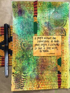 Cultural Heritage: Kiala Givehand's art journal page with kente cloth - try the prompt! Art Journal Prompts, Art Journal Pages, Kente Cloth, Roots, Mixed Media, Culture, Mixed Media Art