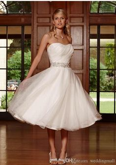>> Click to Buy << Cheap 2017 Wedding Dresses Sweetheart Beaded Ruffle A-line Organza Bridal Dresses Tea Length Wedding Gowns Custom Made #Affiliate