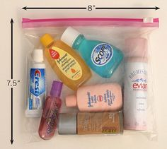 Site full of travel sized toiletries and cosmetics for purchase.