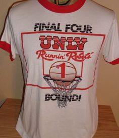 vintage UNLV Runnin Rebels basketball t shirt Large by vintagerhino247 on Etsy