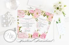 Rustic Peonies Wedding Invitation  - Templates