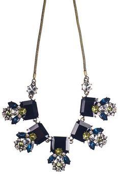 Five Square Cluster Necklace- Black $24