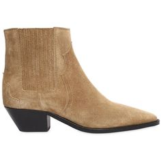 Isabel Marant Women 40mm Derlyn Suede Cowboy Boots (€580) ❤ liked on Polyvore featuring shoes, boots, beige, isabel marant shoes, mid-heel boots, leather sole shoes, suede boots and suede cowgirl boots