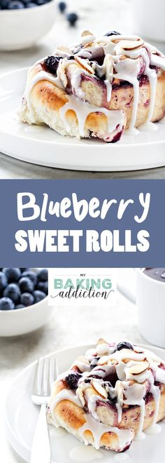 Blueberry Sweet Rolls a like cinnamon rolls, but filled with sweet blueberry goodness. So perfect for brunch! Blueberry Sweet Rolls a like cinnamon rolls, but filled with sweet blueberry goodness. So perfect for brunch! Brunch Recipes, Sweet Recipes, Dessert Recipes, Just Desserts, Delicious Desserts, Yummy Food, Blueberry Sweet Rolls, Blueberry Cinnamon Rolls, Cinnamon Roll Recipes