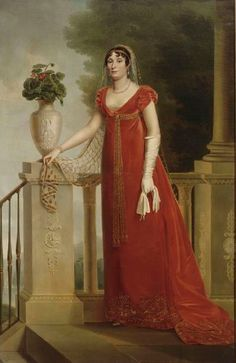 Elisa wearing a red dress attributed to François Joseph Kinson (Château Fontainebleau, Fontainebleau Ftance)   Grand Ladies   gogm