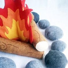 Felt Campfire Plush Playset- flames, logs and rocks | LiveDreamCreate2 - Toys on ArtFire