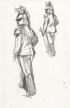 Henri Evenepoel - Étude de cuirassiers; Medium: Conté pencil drawing; Dimensions: 33 x 21,2 cm.