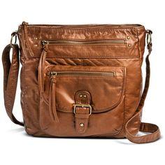 Women's Solid Crossbody Handbag with Front Pocket - Tan ($35) ❤ liked on Polyvore featuring bags, handbags, shoulder bags, brown crossbody purse, tan shoulder bag, faux leather handbags, brown shoulder bag and vegan purses