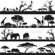 Four panels of african silhouettes with african wild animals in different habitats. Four panels of african silhouettes with african wild animals in different habitats. Animal Silhouette, Silhouette Vector, Silhouette Drawings, Africa Silhouette, Silhouette Images, African Animals, African Safari, Afrika Tattoos, Doodle Drawing