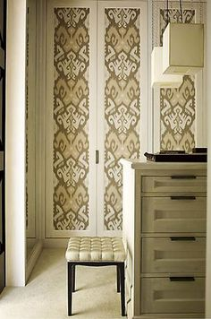 Closet Door Ideas: Decorate your closet doors with wallpaper. You can cut it out in shapes or cover the entire door. To take it a step further, put the paper in the center of the door and outline it with wood trim.
