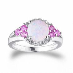 Zales Simulated Oval Opal, Lab-Created Emerald and White Sapphire Frame Ring in Sterling Silver - Size 7
