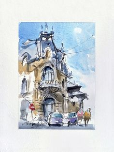 View: Bucharest Urban Sketch, ink and watercolor on paper, 2020 | Artfinder Sketch Ink, Urban Sketching, Bucharest, Impressionist, My Works, Marines, Watercolour, My Photos, Original Art