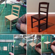 Here's one of two chairs I'm making for my checkerboard table. 1:12 scale. Once I get the other one done I'll post them with the table.