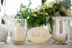 printed table numbers with scalloped edge
