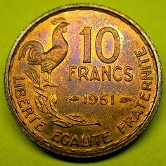 1951 FRANCE 10 Francs Toned ROOSTER COIN in Great Shape!