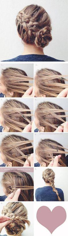 5 Strand Braid Bun - 16 Heatless DIY Hairstyles To Get You Through The Summer GleamItUp hair tutorial // hairstyle // updo Bun Hairstyles, Pretty Hairstyles, Hairstyle Ideas, Hairdos, Updos, Hairstyle Braid, Ladies Hairstyles, Fashion Hairstyles, Simple Hairstyles