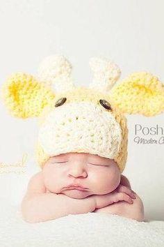 Crochet Hat Pattern - Baby Giraffe Beanie Crochet Pattern PDF 175 - Newborn to Adult Sizes