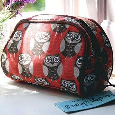owl print make up bag