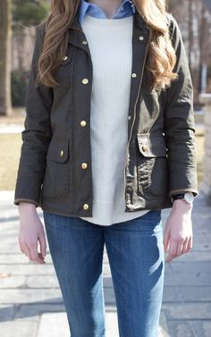 Plaid & Pearls: JCrew Downtown Field Jacket // Preppy Fall Fashion