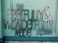 Metal Scripture Wall Art for Babies room- Psalm 139:14