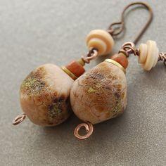 Crusty Speckled Wonky Lampwork Nugget Earrings