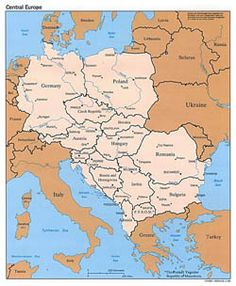 Detailed political map of Central Europe with capitals and major cities - Eastern Europe Map, World Map Europe, Central And Eastern Europe, Poland Germany, Warsaw Poland, European River Cruises, France Map, Moldova, Vintage Maps