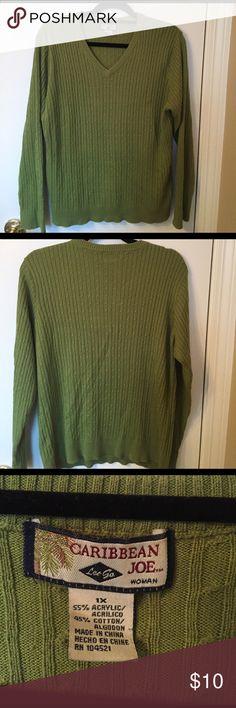 Lightweight v neck sweater Good condition. Size 1x. Runs small Caribbean Joe Sweaters V-Necks