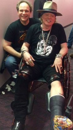 Axl Rose and Eddie Trunk in backstage of T-Mobile Arena, Las Vegas, April 8, 2016