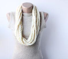 Infinity scarf  crochet chain loop cream white  fall fashion autumn accessories. $18.00, via Etsy.