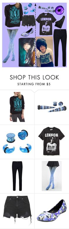 """""""Blue"""" by xxanormalalienxx ❤ liked on Polyvore featuring Old Navy, True Religion, Topshop, T.U.K., Vans, Blue and emo"""