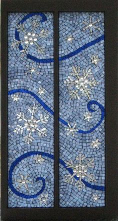 Mosaic window, LET IT SNOW, by Berta Sergeant.