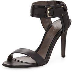 Jason Wu Black Leather Ankle-Cuff Sandal
