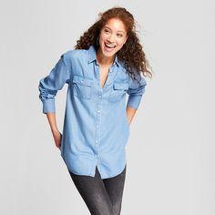 Women's Any Day Long Sleeve Tencel Tunic - A New Day™ Indigo : Target