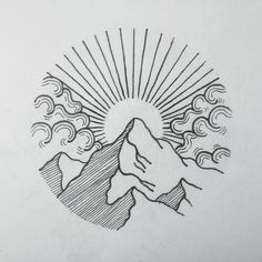 etch style horizon on mountain top