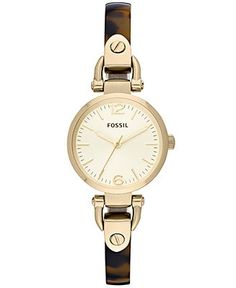 Maybe? would depend on how big the bangle is, I have teeeeny wrists!   Fossil Watch, Women's Georgia Mini Gold-Tone and Tortoise Bangle Bracelet 26mm ES3336 - Women's Watches - Jewelry & Watches - Macy's