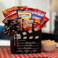 More - Family Flix Movie Gift Box. Family Flix Movie Gift BoxLet the Movie Buff in your life choose their own movie tonight! This is the ultimate Movie night gift box. Family Gift Baskets, Wine Gift Baskets, Gourmet Gift Baskets, Gourmet Gifts, Family Gifts, Popcorn Gift Baskets, Family Gift Ideas, Alcohol Gift Baskets, College Gift Baskets