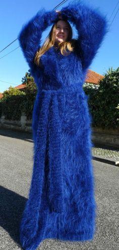 Luxury Blue HandKnitted Longhair Mohair Coat Cardigan  Hooded  by Lanaknittings
