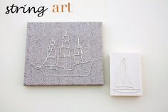 """String Art Canvas Tutorial!- includes covering a picture frame in fabric to make the """"canvas"""""""