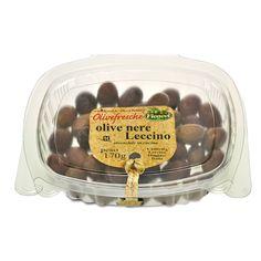 IT   OLIVE NERE LECCINO: l aternativa all oliva di gaeta, ideale sia per la preparazione di primi e secondi piatti, che servita come antipasto.  EN   WHOLE BLACK NATURAL LECCINO OLIVES: the best back-up olive to the gaeta, the taste can be rather different, but the harmony for cooking is just the same with a very enjoyable taste.  http://www.ficacci.com/scheda.asp?id=389&idgamma=42