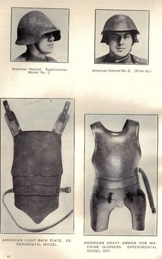 American World War I experimental armor. Pin by Paolo Marzioli Arm Armor, Body Armor, Military Gear, Military History, Sun Tzu, World War One, Dieselpunk, Historical Photos, Warfare