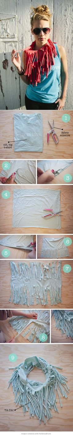 Another take on a upcycled tshirt fringe scarf, cutting both sides to create even more fringe! DIY Tutorial