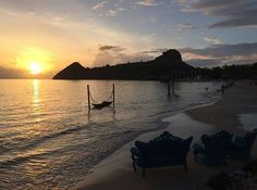 Nothing but silhouetted pitons and beautiful beach views at #SandalsGrandeStLucian. See you soon? 📷  @alicatchef