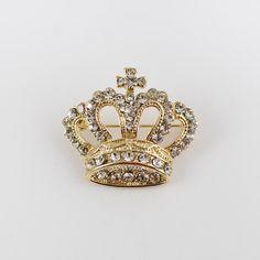 Broche couronne royale dorée à strass